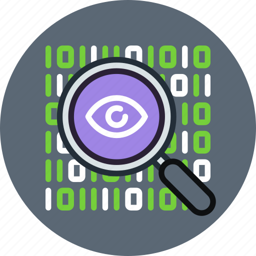 data, encryption, eye, find, inspect, private, search, spy icon