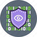data, encryption, eye, private, protection, secure, security, shield icon