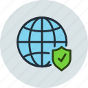 global, internet, network, protection, security, shield, web icon