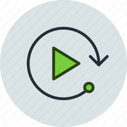 again, arrow, play, player, replay, start icon