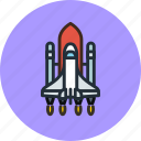 cosmos, exploration, launch, rocket, ship, shuttle, space, start icon