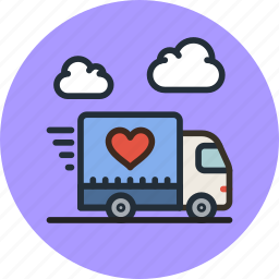 delivery, happy, logistics, love, shipping, transport, truck, vehicle icon