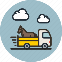 animal, delivery, horse, shipping, transport, truck, vehicle icon