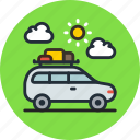baggage, camping, car, transport, travel, vehicle icon