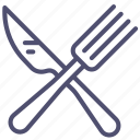 fork, restaurant, canteen, cafe, knife icon