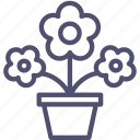 flowers, plant, pot icon