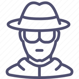 avatar, glasses, hat, human, spy icon