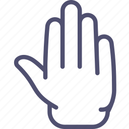 fingers, five, palm icon