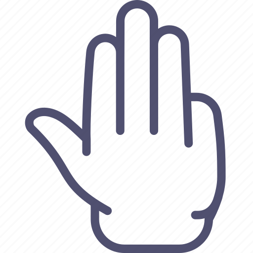 fingers, four, hand, palm icon