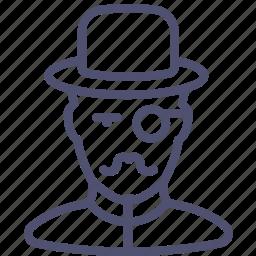 avatar, hat, hipster, holmes, human, man, millionaire, monocle, mustache, retro, watson icon