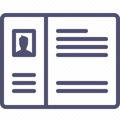 account, blog, grid, layout, profile, wireframe icon