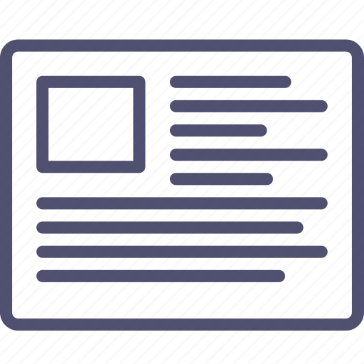 article, grid, layout, post, text, wireframe icon