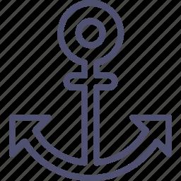 anchor, marine, nautical, ocean, sea, ship, travel icon