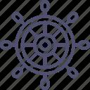 ocean, sea, wheel, ship icon