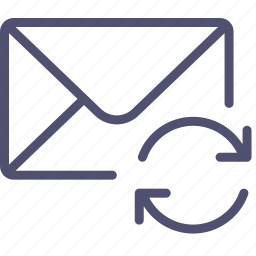 email, envelope, mail, message, sync, syncronization icon