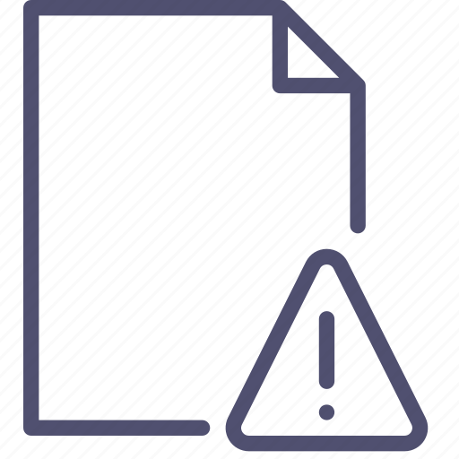 alert, document, file, page, paper, sheet, warning icon