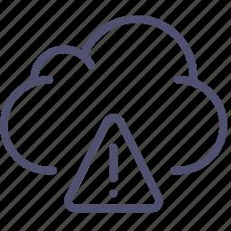 alert, cloud, data, storage, warning icon