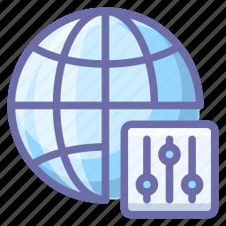control, globe, internet icon