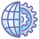 gear, globe, internet icon