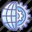 gear, globe, internet icon