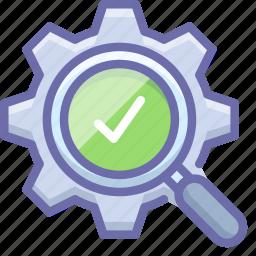 check, gear, search icon