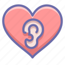 ear, heart, love icon