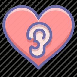 ear, heart, love icon