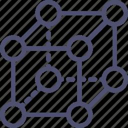 crystal, lattice, molecular, molecules, physics, science icon