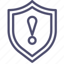 defense, firewall, guard, guardian, protect, protection, secure, security, shield, warning icon
