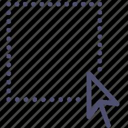 area, arrow, cursor, region, select, selection, tool icon