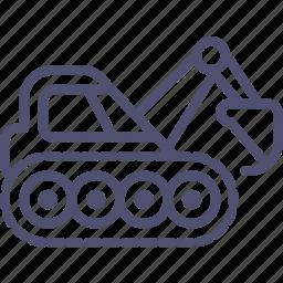 caterpillar, construction, digger, equipment, excavator, industrial icon