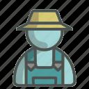 farmer, unisex, avatar, hat, overall, profile, person