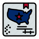 american, flag, map, world icon