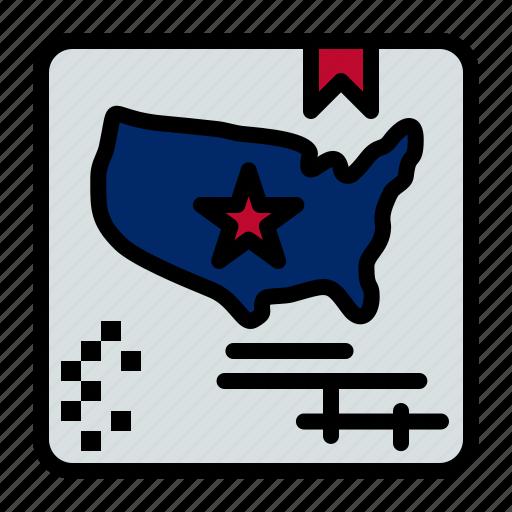 american, flag, map, world icon