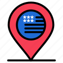 american, location, map, sign icon