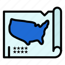 map, states, united, usa icon