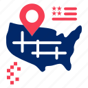 american, location, map icon