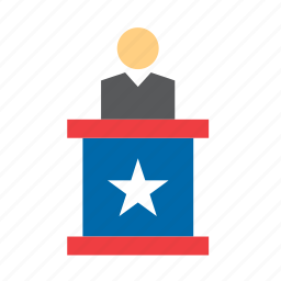 candidate, election, elections, lectern, politics, presidential, united states icon