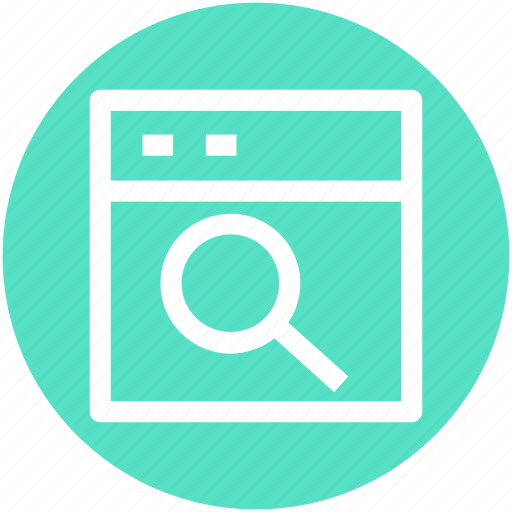 application, focus, magnifier, searching, web icon
