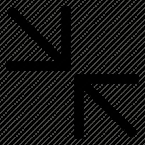 arrows, collapse, diagonal icon