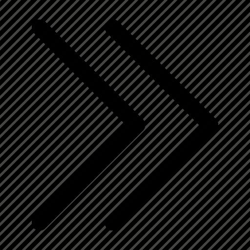 arrow, double, next, right icon