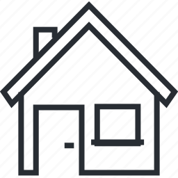 building, home, house, landing, line, page, thin icon