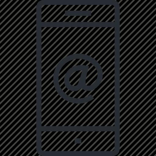 app, internet, line, m-commerce, mobile, service, thin icon