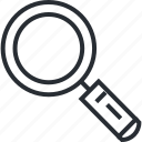 browse, line, magnifier, search, thin, tool icon
