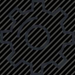 gear, line, maintenance, services, setup, thin, utility icon