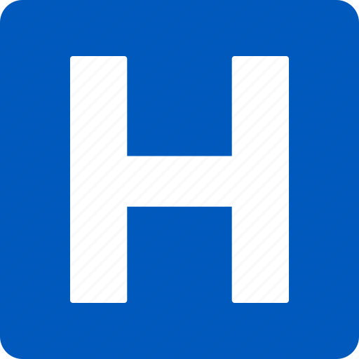 blue, clinic, emergency, h, hospital, medical, sign icon