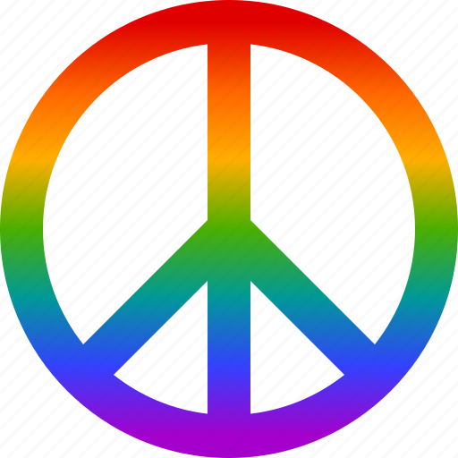 colorful, friendship, peace, psychedelic, rainbow, sign, symbol icon