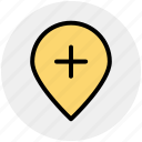 add, location, map, pin, plus, world location icon