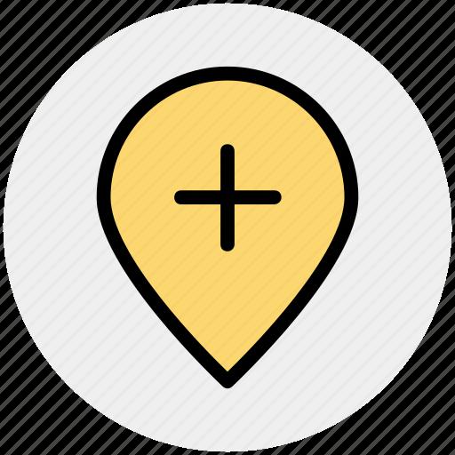 add, location, map, pin, plus, world location icon