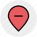 location, map, minus, pin, world location icon